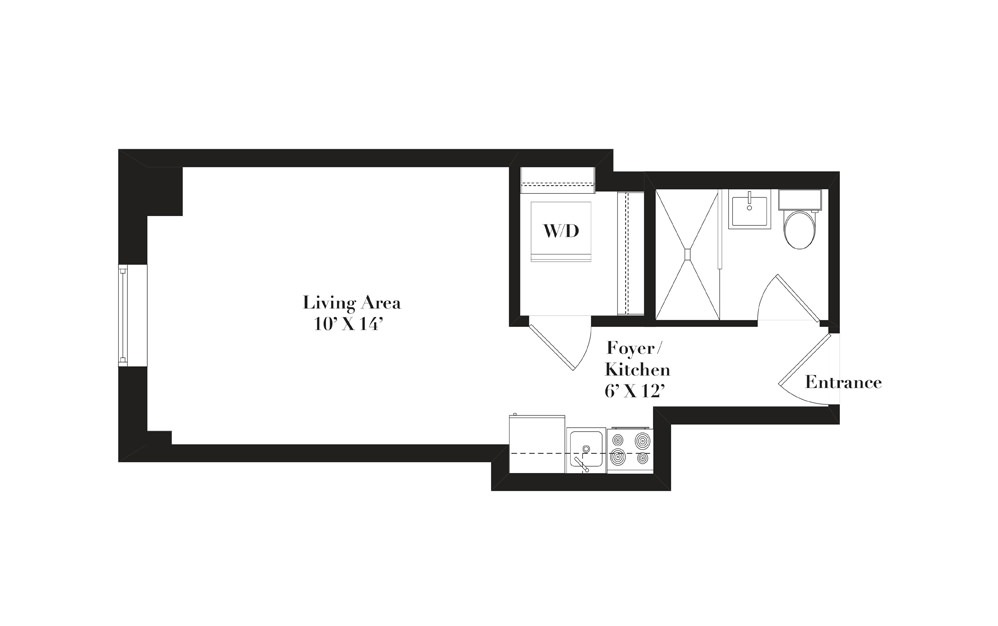 A10 - Studio floorplan layout with 1 bath and 293 to 316 square feet.