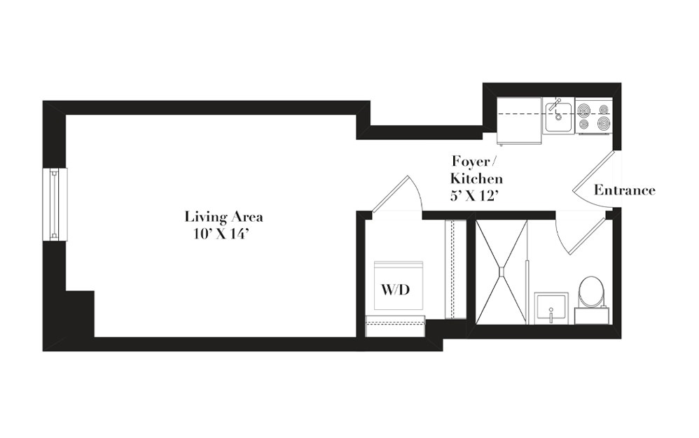 A9 - Studio floorplan layout with 1 bath and 295 to 317 square feet.